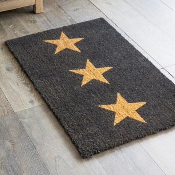 Doormat 3 Stars - Large - Charcoal - Coir - DMCO09